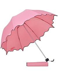 The Purple Tree Fancy Wavy Edge Princess Folding Umbrella (Pink) - 1 Pc, Rain Umbrella, 3 Fold Umbrella, Compact Umbrella, Pretty Umbrella, Folding Umbrella, Fancy Umbrella, Stylish Umbrella,