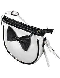 Hena's Creation Ivory Pochette 100% Genuine Leather Sling Bag White With Black Bow