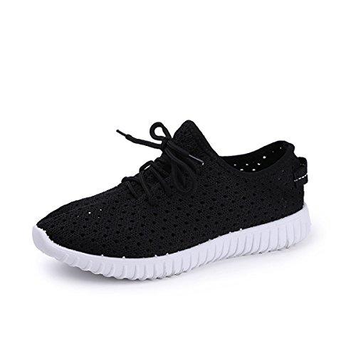 CHT Mädchen Frühling Und Herbst Runde Beiläufige Schuhe Netz Niedrig Zu Helfen Black