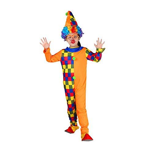 Yaxuan Halloween Burlesque Kinder Clown Set Kostüm Männliche Mädchen Clown Kleid Clown Hat Karnevalsfest/Urlaub Halloween-Kostüme,2,L