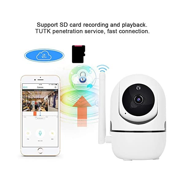 Baby Monitor 720P/1080P HD WiFi Camera Baby Pet Monitor, Smart Wireless IP Camera Indoor Camera with Night Vision and Motion Tracking White(1080P)  720P/1080P HD Images & Night Vision: This baby monitor adopt 1080P/702P full HD lens to ensure bright and beautiful images. Premium infrared light with IR-CUT function, provides clean and clear night vision effect. Intelligent tracking, human body detection, area protection (200W model support). Motion Tracking: The IP camera can monitor movements then send notification to your mobile phone to prevent your home From invasion. Intelligent cruise, internal auto cruise mode, records every corner of your home to escort your home security. 2 Way Audio Anti Noise: Baby pet monitor camera support two-way voice intercom, built-in microphone & speaker and anti noise technology to ensure clear voice quality. The fluent sound allows you to comfort your loved one. You can communicate with each other clearly whenever you want. 7