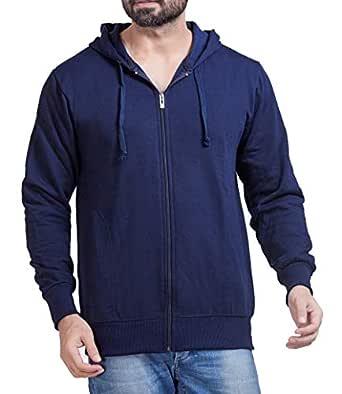 ADBUCKS Winter Wear Hood with Zipper Cotton Jacket (Medium, Blue)