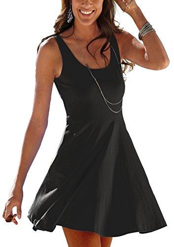 Uniquestyle Damen Ärmelloses Beiläufiges Strandkleid Sommerkleid Tank Kleid Ausgestelltes Trägerkleid Knielang Schwarz XL