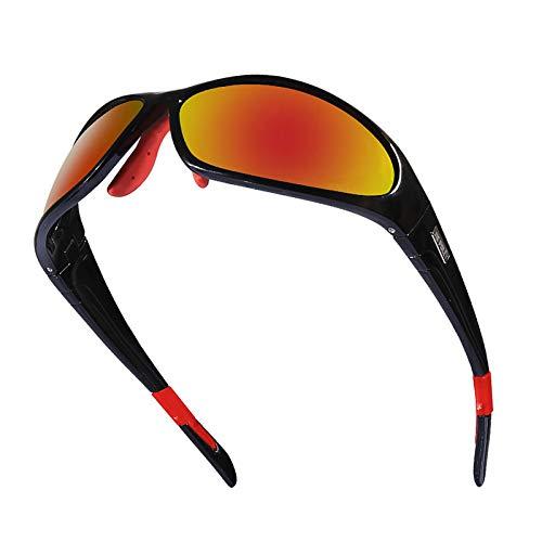 Epinki Uomo PC Ciclismo Occhiali Protettivi Bicicletta Polarizzato Sportivoivo Bicchieri Neve Occhiali Protettivi per Moto Bicicletta Casco Compatibile, Nero Rosso