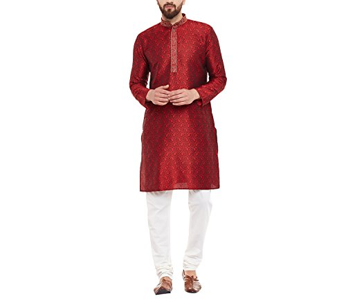 Sojanya (Since 1958) Men's Jacquard Silk Kurta & Churidaar Pyjama_Maroon_42