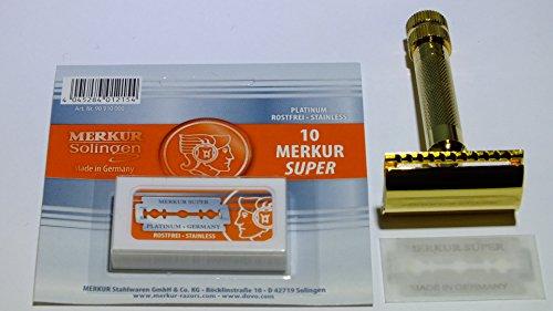 Im Set: Merkur Rasierhobel 34G, vergoldet mit kurzem Griff, plus 10 Merkur Rasierklingen