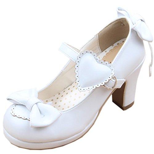 Partiss Damen Sweet Lolita High-top Casual Schuhen Lolita Pumps Herbst Fruehling Hochzeit Tanzenball Maskerade Cosplay Bowknots Platform Pumps Lolita Shoes Weiß