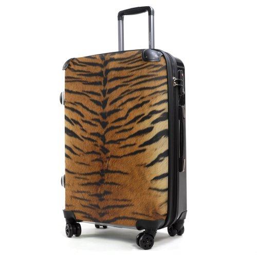 """HAUPTSTADTKOFFER® · Hartschalenkoffer Koffer Trolley Reisekoffer Hartschale · Serie """"Style"""" (Eule Strand Sonnenschirm) Tigerfell"""