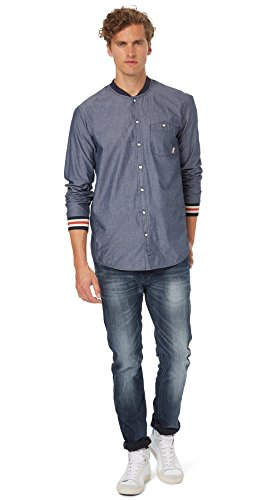 Tom Tailor Denim Herren Freizeit-Hemd Marineblau