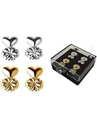 89372e80b38 Skyzone 2 Pair Gold and Silver Metal Creative Magic Bax Earring Backs  Hypoallergenic Lifter Support for