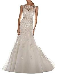 ANJURUISI Vestido de novia de la boda de la sirena del Applique del cord¨®