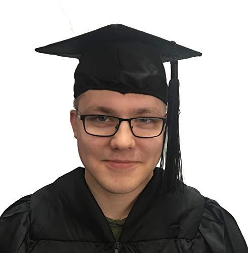 College Spaß Einfach Kostüm - Doktorhut schwarz Abschlussfeier Uni Bachelor Doktor Diplom (schwarz OHNE Ring und Jahreszahl)