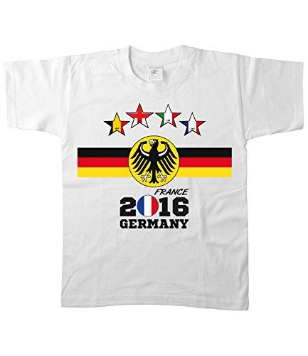 Artdiktat - EM 2016 Vier Sterne Deutschland Fan T- Shirt für Damen Herren Kinder und Babys - Trikot Ersatz - inkl. Wunschname und Nummer EM 2016 Vier Sterne Frankreich Kinder Größe 98/104, weiß (Frankreich 98-jersey)