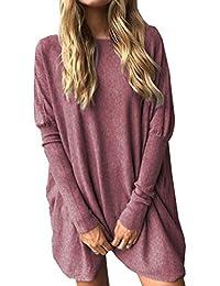da02c92dc0 5 ALL Damen Frauen Pullover Winter Herbst Elegant Rundhals Langarm Lose  Oversize Strickpulli Sweater Jumper Sweatshirt