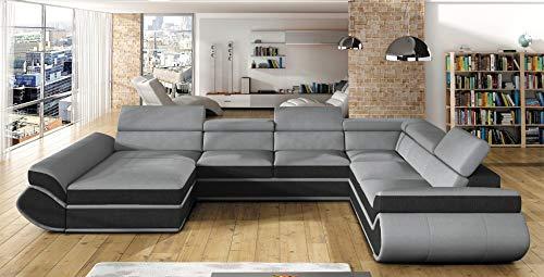 all4all Ecksofa mit Schlaffunktion Wohnlandschaft Big Sofa XXL Bettkasten verstellbare Kopfstützen Links Rechts Gewebe Kunstleder Modern 11 (Links)