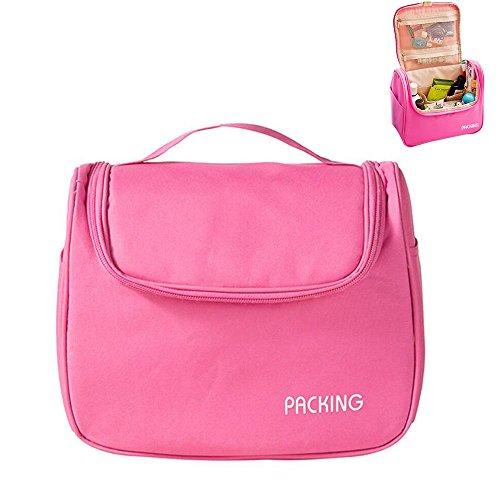 Kulturtasche zum Aufhängen Reise Kulturbeutel mit Haken Kosmetiktasche Pink