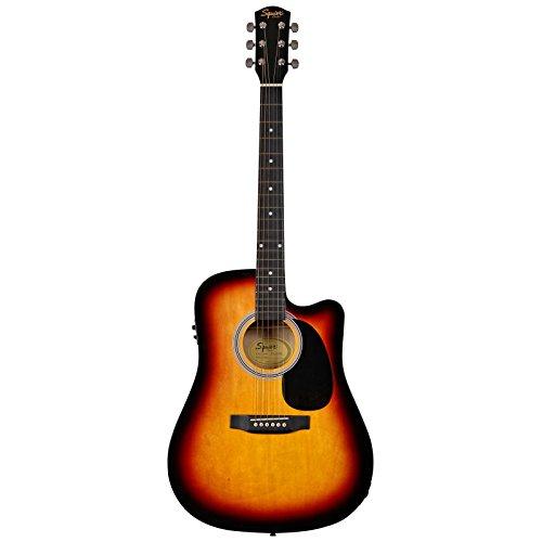 Fender 0930307006SA-105CE Chitarra acustica elettrificata Dreadnought a spalla mancante, colore: nero Full 4/4 Sunburst