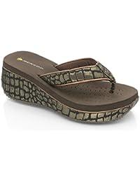 Dunlop Femme Flip Flops avec Wedge, Leopard ou Crocodile