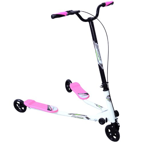 Homcom Kids 3 Wheels Foldable Speeder Push Scooter Tri Slider Pink Large Type for Age 7+