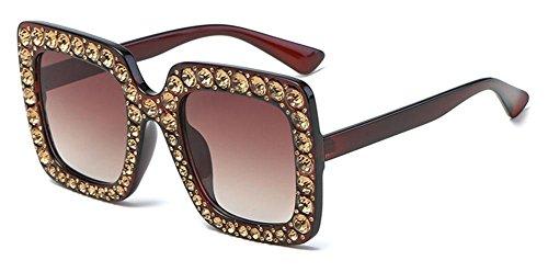 SHIQUNC Sonnenbrille Mode Brille quadratischen Rahmen Damen Diamant Sonnenbrille, 003