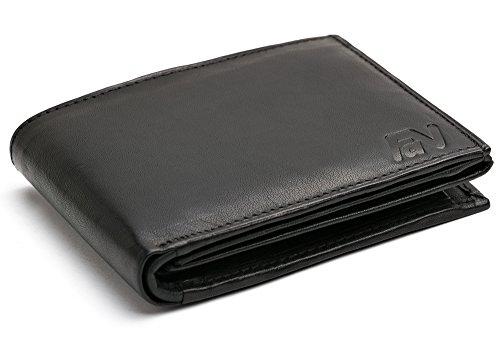 Schwarze Herren Ledergeldbörse aus echtem Leder Querformat Portemonnaie Geldbeutel von Fa.Volmer #SQ90 (Brieftasche)