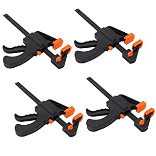 XFORT® Quick Grip Clamps, Ratchet Bar Clamps, One Handed Bar Clamp, Ideal for Fast and Easy Clamping Applications [4 inch, 4 Pack]