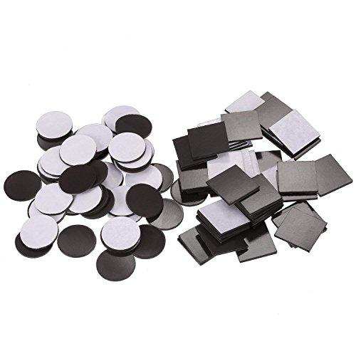 Packung mit 100 Selbstklebend Magnetische Quadrat (Je 20 x 20 x 1,5 mm) und Magnetische Disc (Je 20 x 20 x 1,5 mm) Flexible Gummimagnete für die Kühlschrankorganisation, DIY Art Project, Vision Board -