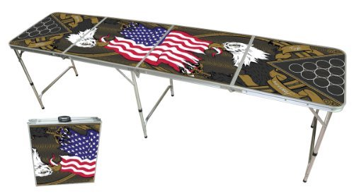 Beer Pong Tisch Set - American Eagle Design - Beer Pong table inkl. 50 Red Solo Cups und 6 Bälle