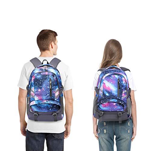E-ZONED Zaino Scuola Superiore Per PC 15.6 Pollici da Donna e Uomo, Backpack Portabile Casual Rucksack per Laptop Universita Viaggio con Presa Ricarica USB (Galassia) - 7