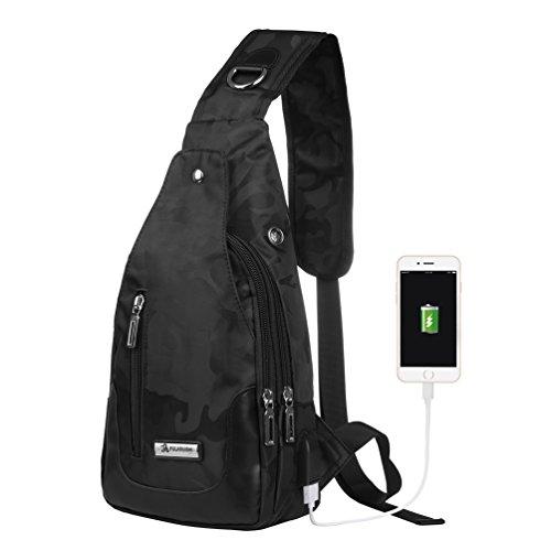 Vbiger Brusttasche Sling Rucksack Schultertasche Brusttaschen für Damen und Herren Daypack Militär Sporttasche, Stil2-schwarz, Einheitsgröße -