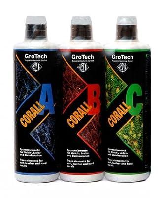 GroTech Corall A, B, C Mélange d'oligo-éléments pour invertébrés Lot de 3 bouteillesde 1000ml