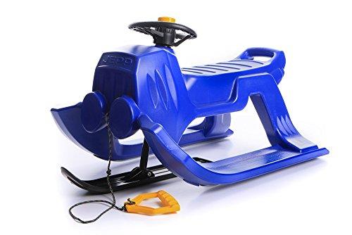 Schlitten Kinderschlitten Rodel aus Kunststoff mit Zugseil und Lenkung Jepp Control 4 Farben (Blau)