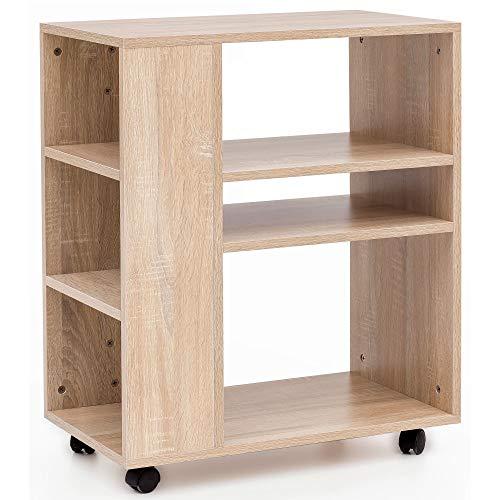 FineBuy Regal 60x35x75 cm Sonoma Regalwagen mit Rollen Holz | Schmales Küchen-Regal | Telefontisch Rollwagen Modern | Bücher-Regal schmal Standcontainer Hoch -