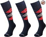 Comodo 3 Paar Bequeme Langlebige Reit-Socken | AntiZecken | AntiMücken | Reit-Strümpfe | Reiter-Strümpfe | Knie-Strümpfe 39-42 Insect - D.Blue / Red / Gray