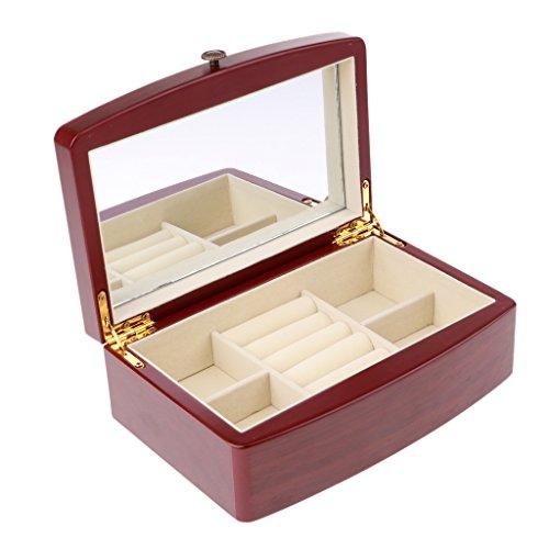 Holz Schmuck Vitrine (CUTICATE Holz Uhr Box Vitrine Veranstalter Glas Top Schmuck Ring Ohrring Lagerung)