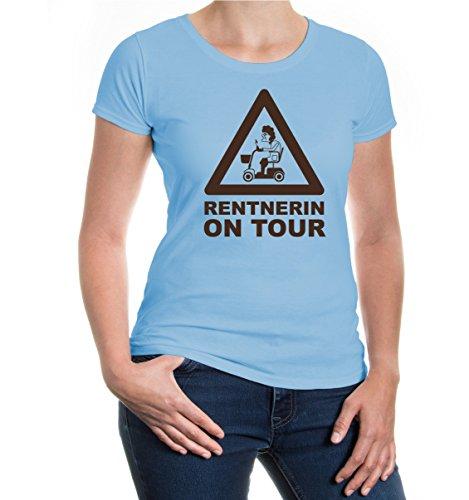 buXsbaum® Girlie T-Shirt Rentnerin on Tour Skyblue-Brown