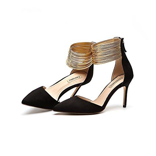8,5 cm, 10,5 cm Schwarz Europa und die Vereinigten Staaten hohle Bankett spitzen High Heels, sexy goldenen Fuß Ring mit feinen Frauen einzelne Sandalen ( Farbe : Black8.5cm , größe : 41 )
