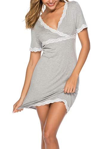 Kurzarm-nachthemd (ABirdon Damen Nachthemd V-Ausschnitt Kurzarm Spitzenbesatz Weiches Nachthemd S-XXL)