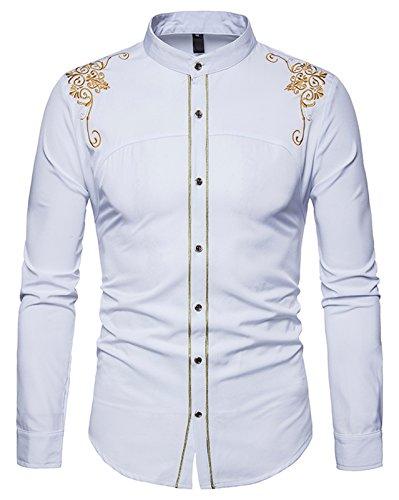 Whatlees Herren Gotik Hemd mit Golden aufgesticktes Design und Stehkragen