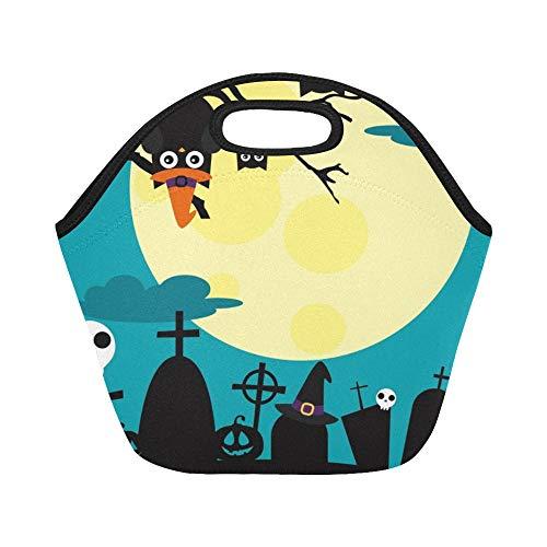 Isolierte Neopren-Lunch-Tasche Happy Halloween Card Design Große, wiederverwendbare, dicke Thermo-Lunch-Tragetaschen für Brotdosen Für den Außenbereich, Arbeit, Büro, Schule