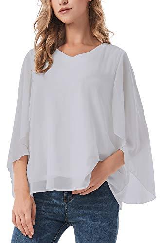 ANGGREK Damen Chiffon Bluse 3/4 Arm V-Ausschnitt Asymmetrisch Tunika Shirt mit Volant Trompetenärmeln -