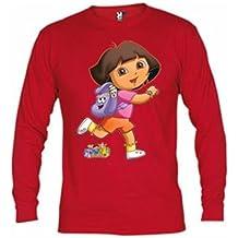 Camiseta Dora Exploradora roja manga larga (Talla: 5-6 años, Color: