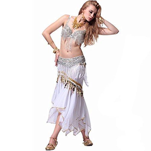 Byjia Weiße Quasten Hängen Münzen Belly Dance Outfit -
