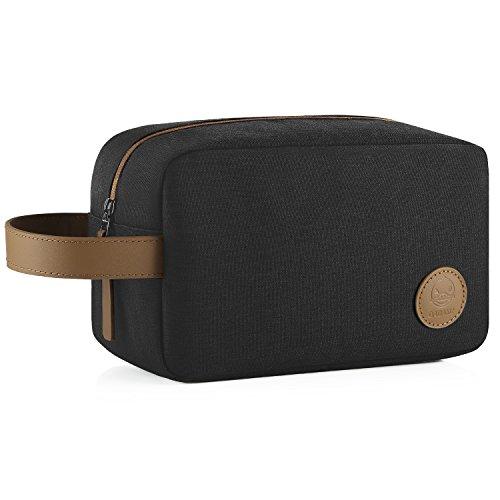 GAGAKU Bolsa de Aseo Grande Neceser Dopp Kit Impermeable Neceser de Viaje para Hombre Bolsa de Cosmético (XL Negro/Marrón)