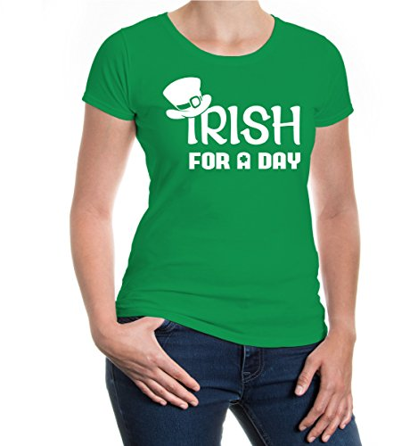 buXsbaum® Damen Girlie Kurzarm T-Shirt bedruckt Irish for a Day | Irland St. Patrick Green | L kellygreen-white Grün (T-shirts Green-day-bedruckte)
