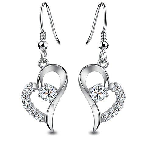 Wonvin Frauen 925 Silber Herz baumeln Ohrring mit Acht Pfeilen und Herzen Kubische Zirkonia