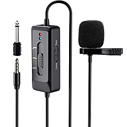 PLOTURE Professionelles Lavalier Mikrofon mit Lärmminderung Funktion für iPhone/Kamera/Camcorder/PC/Android, Ansteckmikrofon Aufnahme Mikrofon für YouTube, Interview, Video(8 m Kable)