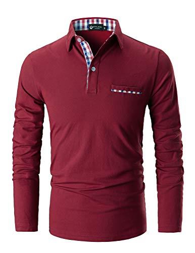 STTLZMC Uomo Plaid Polo Maniche Lunghe Basic Maglie Golf Casual T Shirt Gentiluomo S XXL