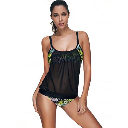 FeelinGirl Damen Tankini Bikini Set Streifen Badeanzug Swimsuit 3XL Hellgrün