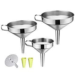 OMORC Strainer Funnel Set, 3 Piece Kitchen Stainless Steel Funnel set with Handle and Detachable Strainer/Filter for Transferring of Liquid, Fluid, Dry Ingredients & Powder